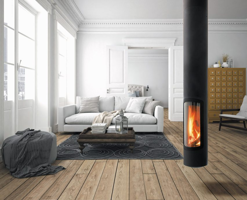 A suspended wood-burning fireplace
