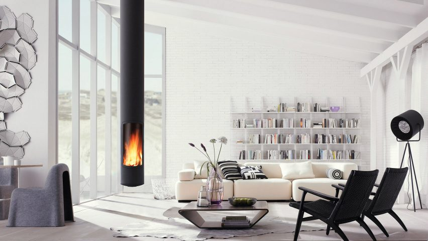 A living room with a suspended Slimfocus fireplace