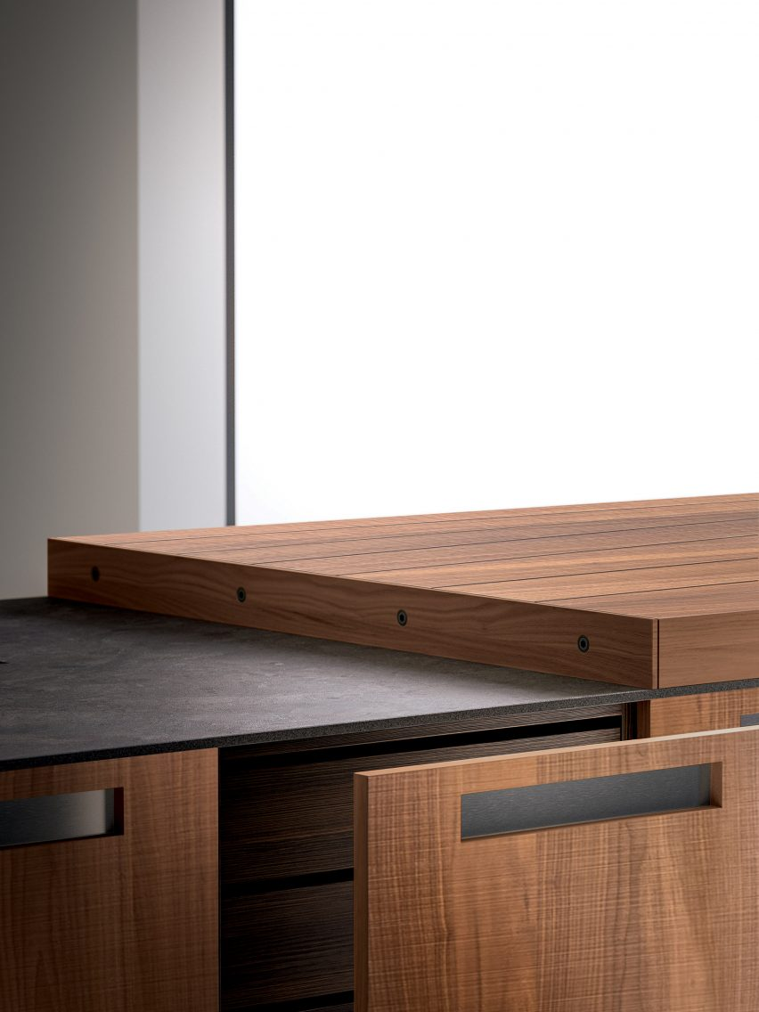 Recessed kitchen handle for Boffi kitchens