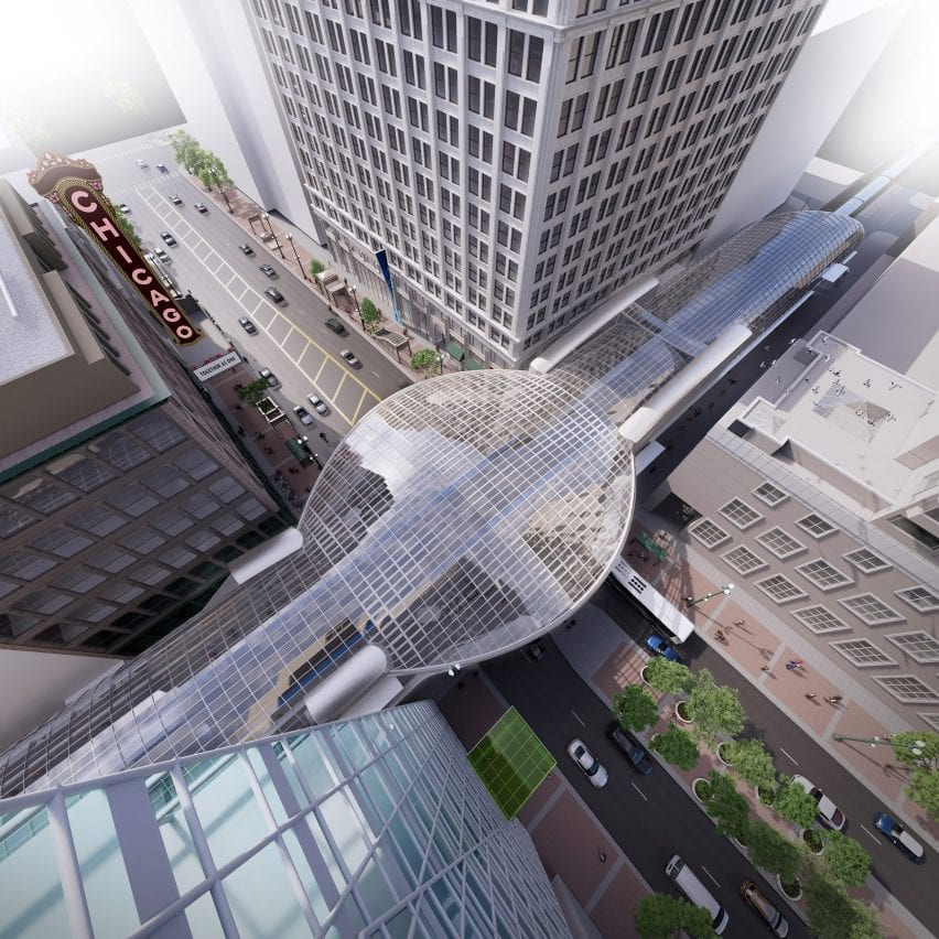 Glass canopy over metro station redesign in Chicago