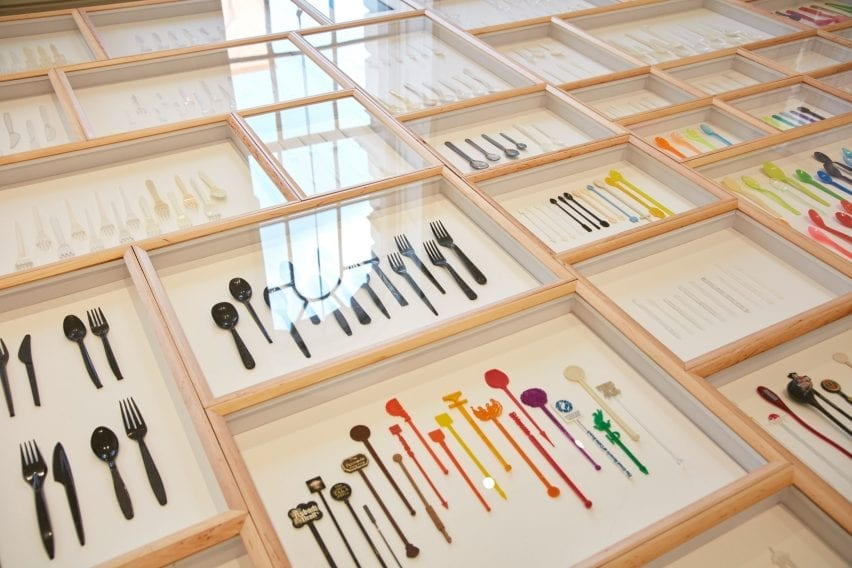 The installation includes a variety of plastic items