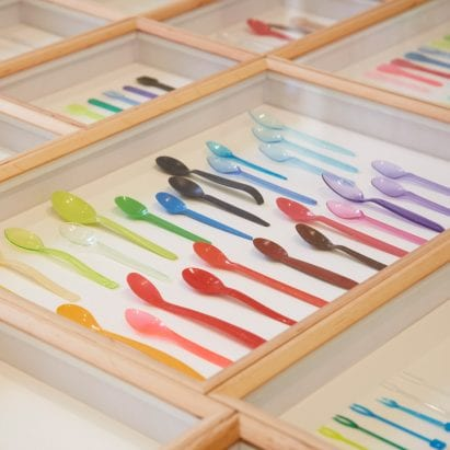 Plastic spoons at London design Biennale