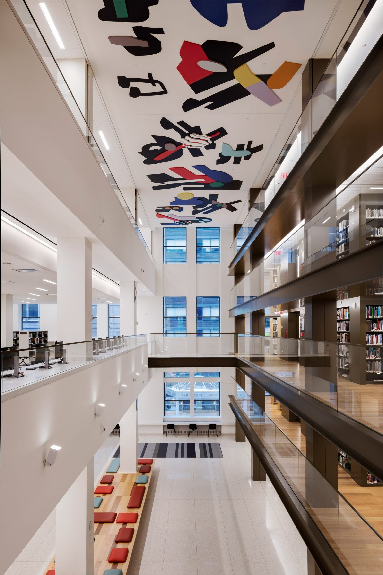 Ceiling art in a three-storey atrium in the Stavros Niarchos Foundation Library