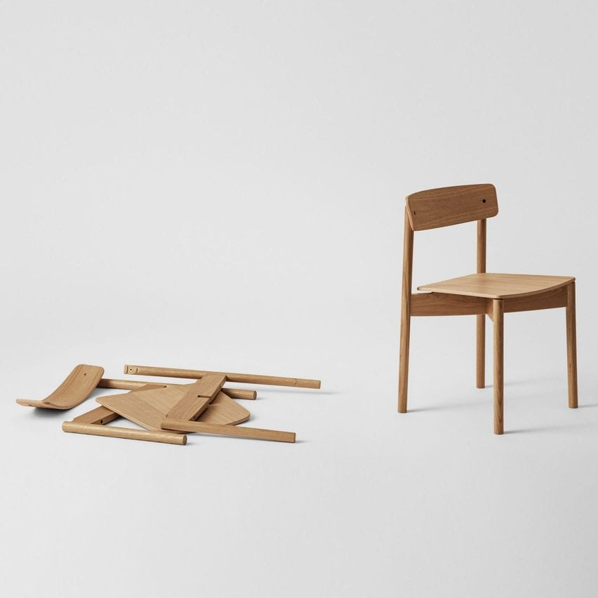 Cross Chair by Pearson Lloyd for Takt assembled and disassembled