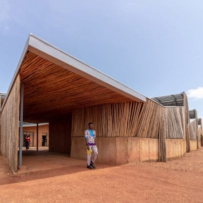 A university in Burkina Faso lined with eucalyptus wood