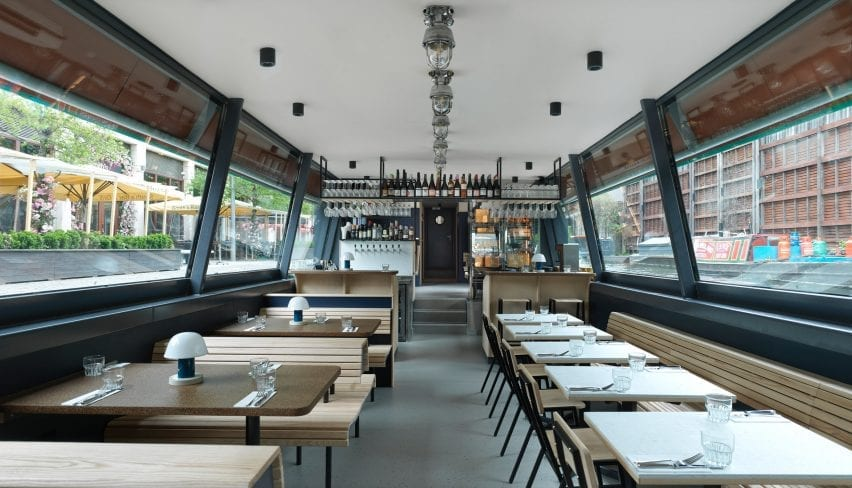 The Cheese Bar restaurant is on a barge