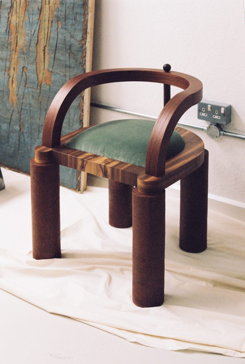 A chair was upholstered with green velvet