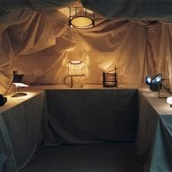 Dimly lit room with lamps