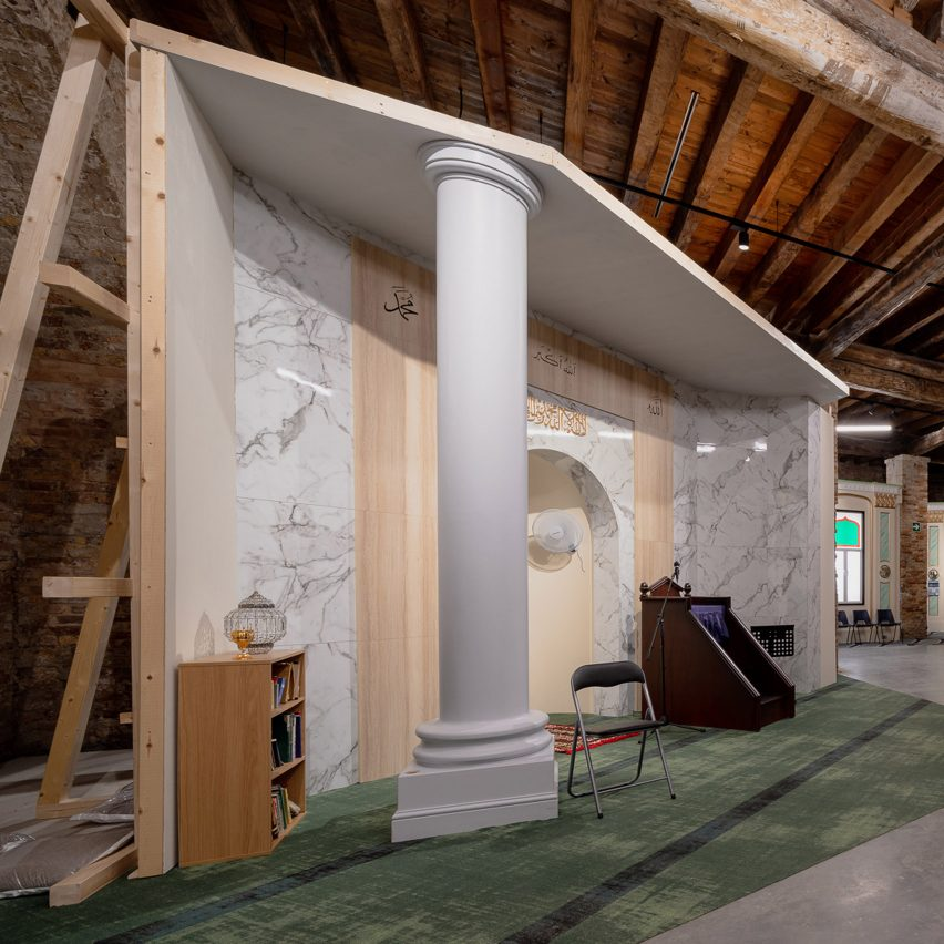 A full-scale replica of a mosque at the Applied Arts Pavilion