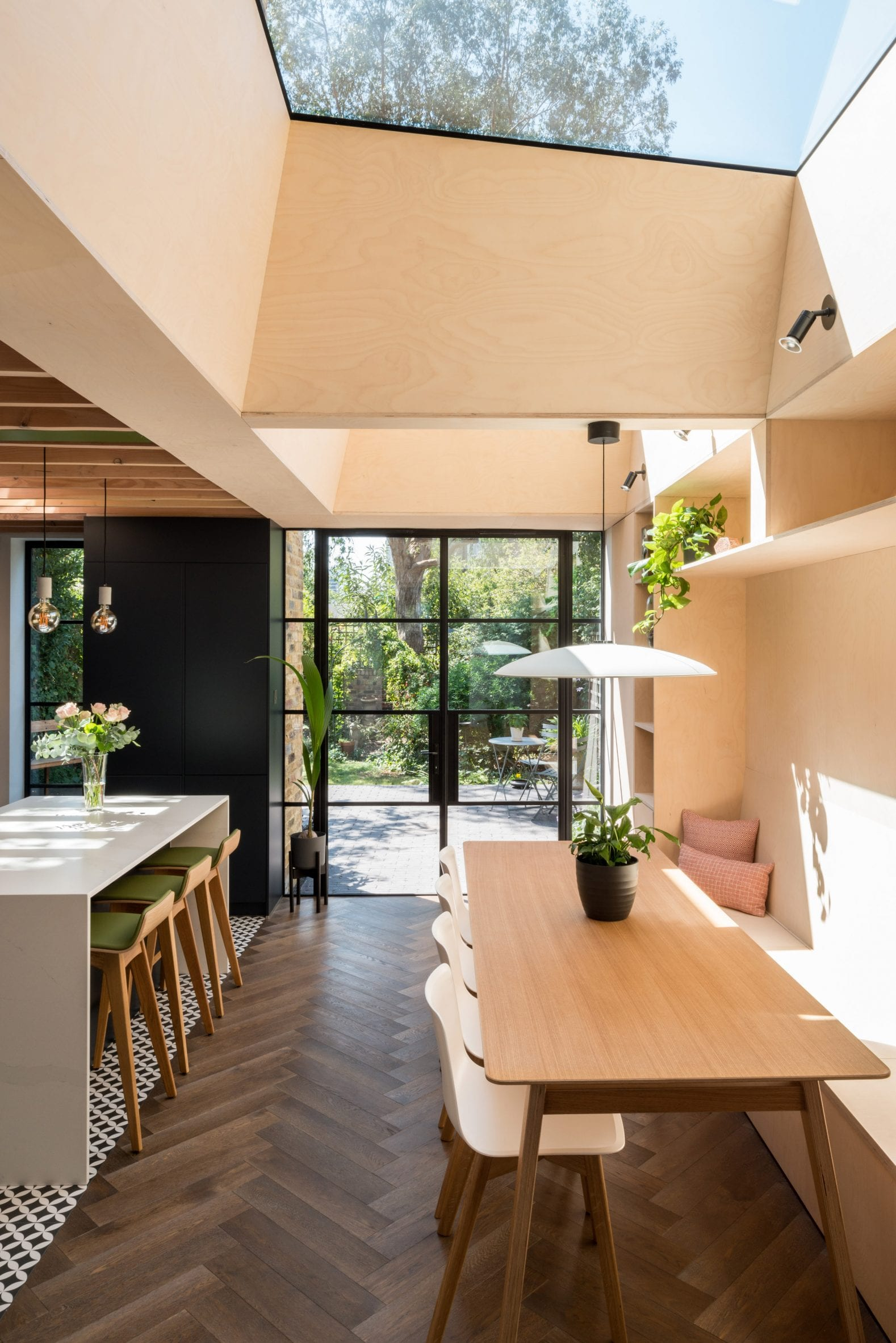 A skylight was placed above a dining area at vault house