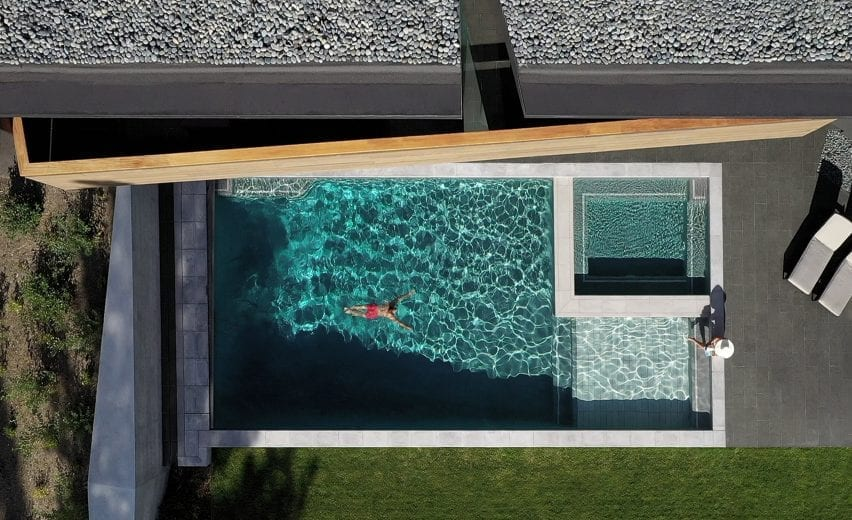 Aerial view of the outdoor swimming pool