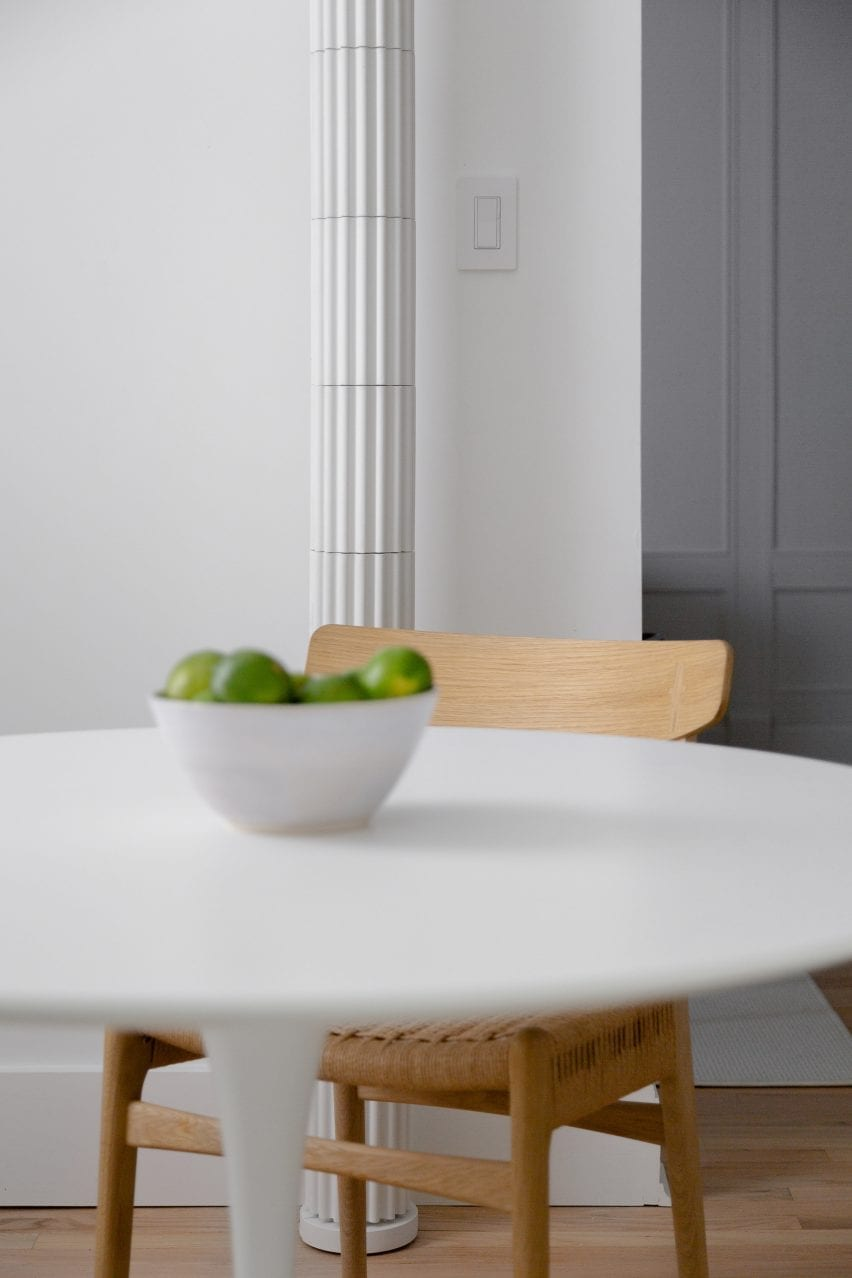 Brooklyn kitchen dining table with custom pipe cover