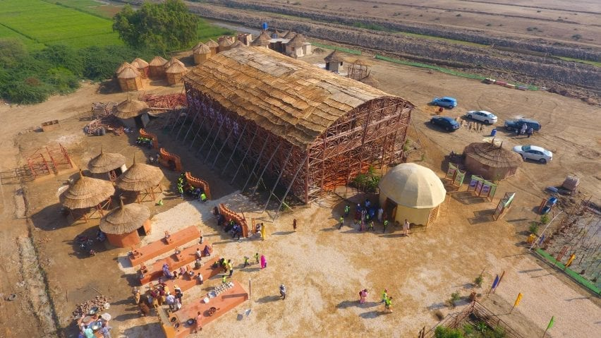 Aerial view of the Zero Carbon Cultural Center in Makli by Yasmeen Lari