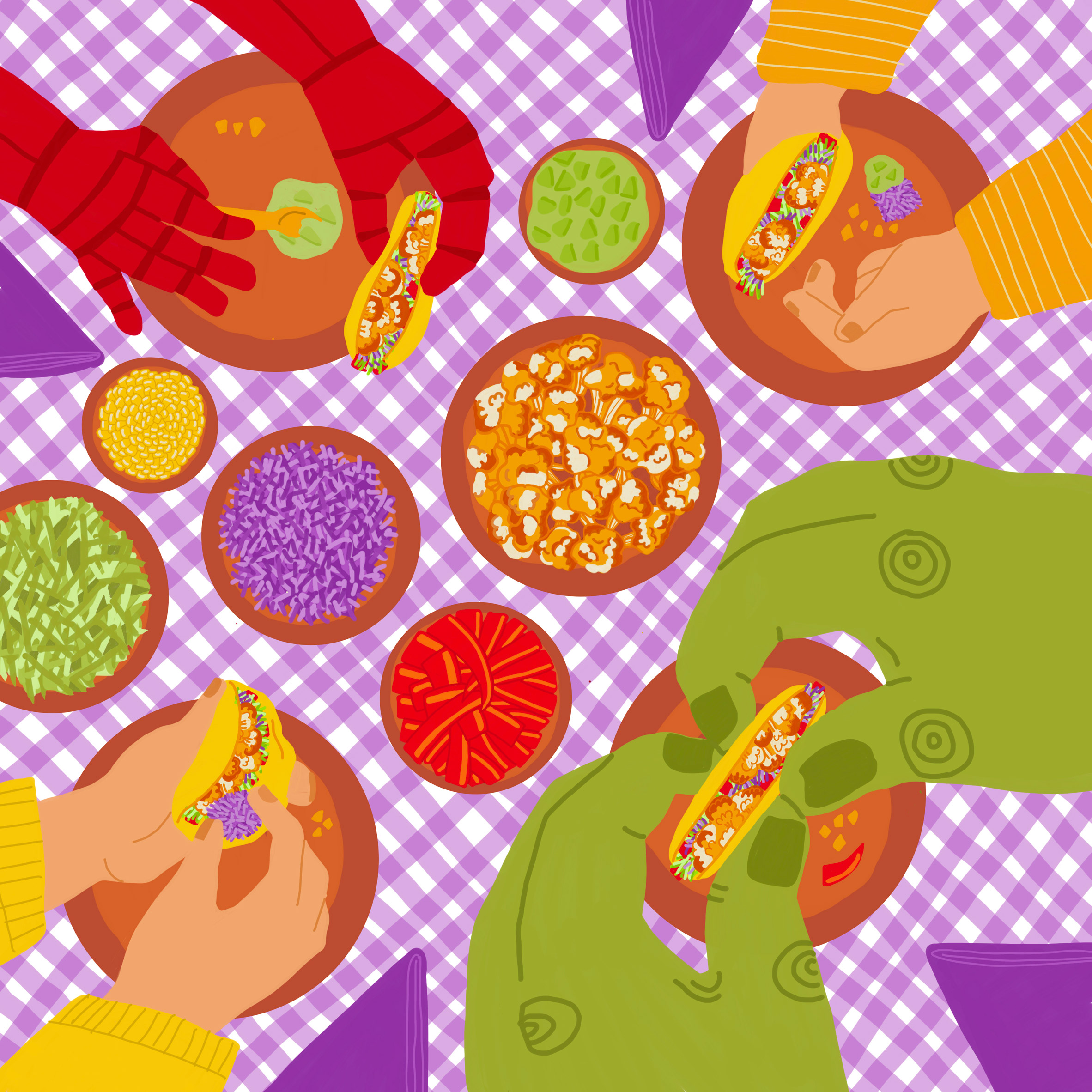 An illustration of people eating Tacos