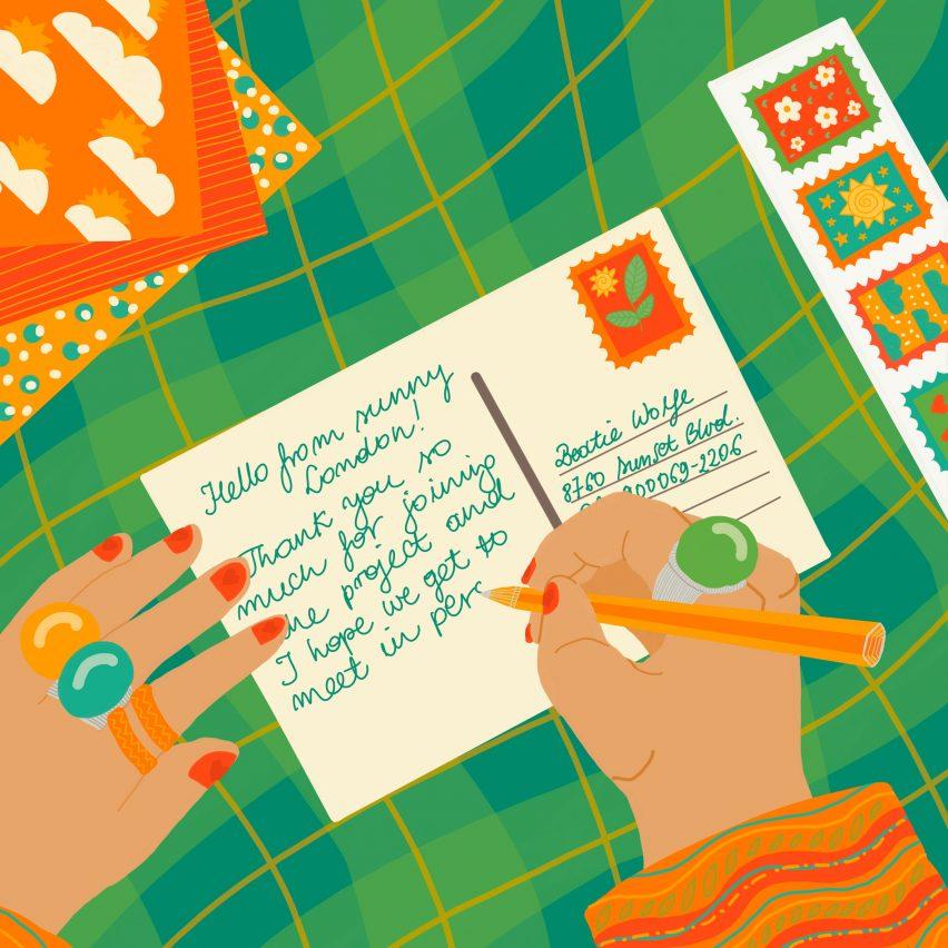 Ilustrasi seseorang menulis kartu pos