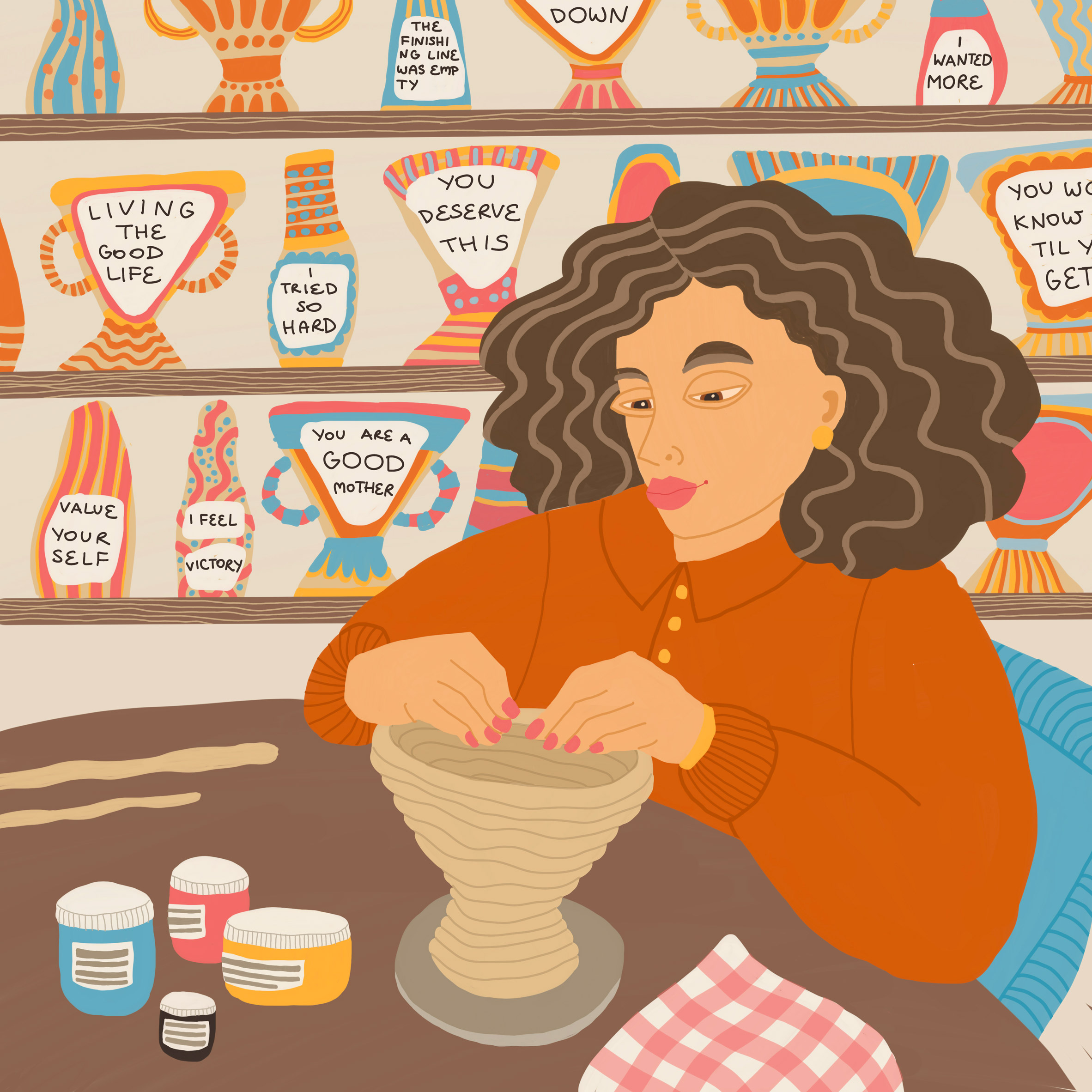 An illustration of someone making ceramics