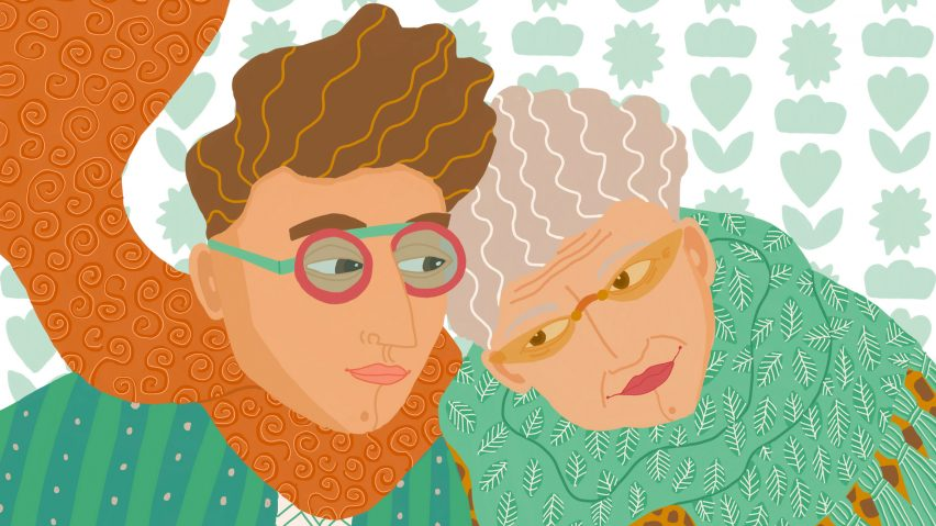 A coloured illustration of a man and elderly woman embracing