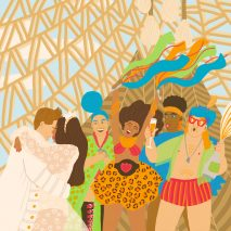 A coloured illustration of people dancing at a wedding