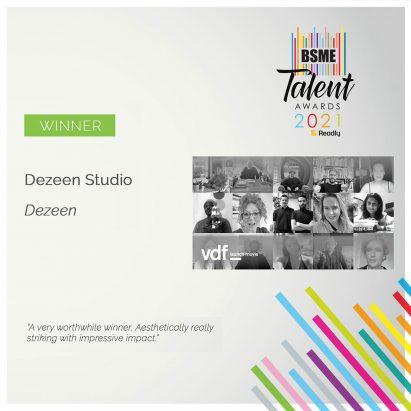 BSME Talent Awards 2021 certificate
