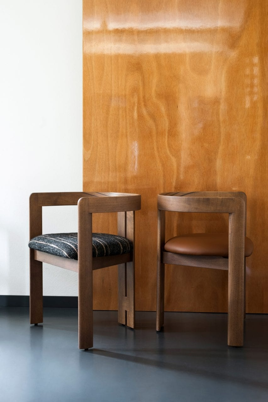 Two Pigreco chairs by Tobia Scarpa with upholstered seats