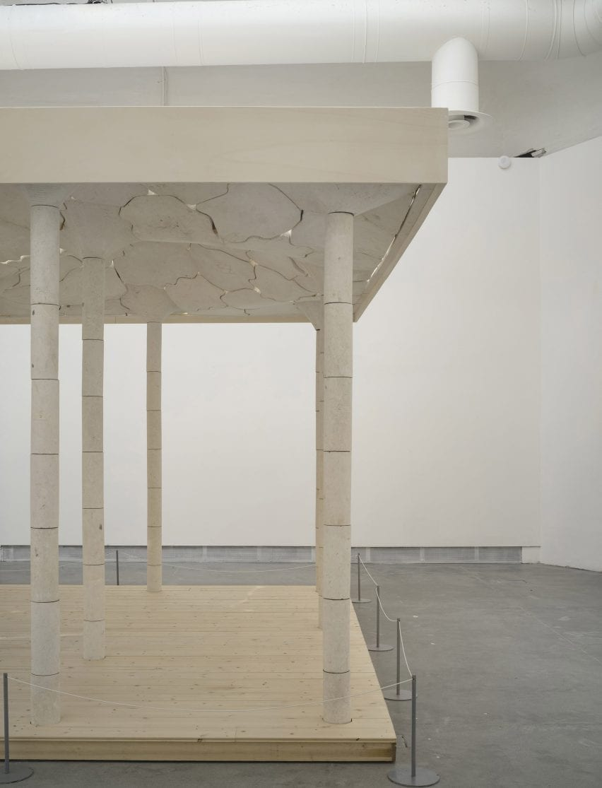 Stone installation and stage at the Venice Architecture Biennale