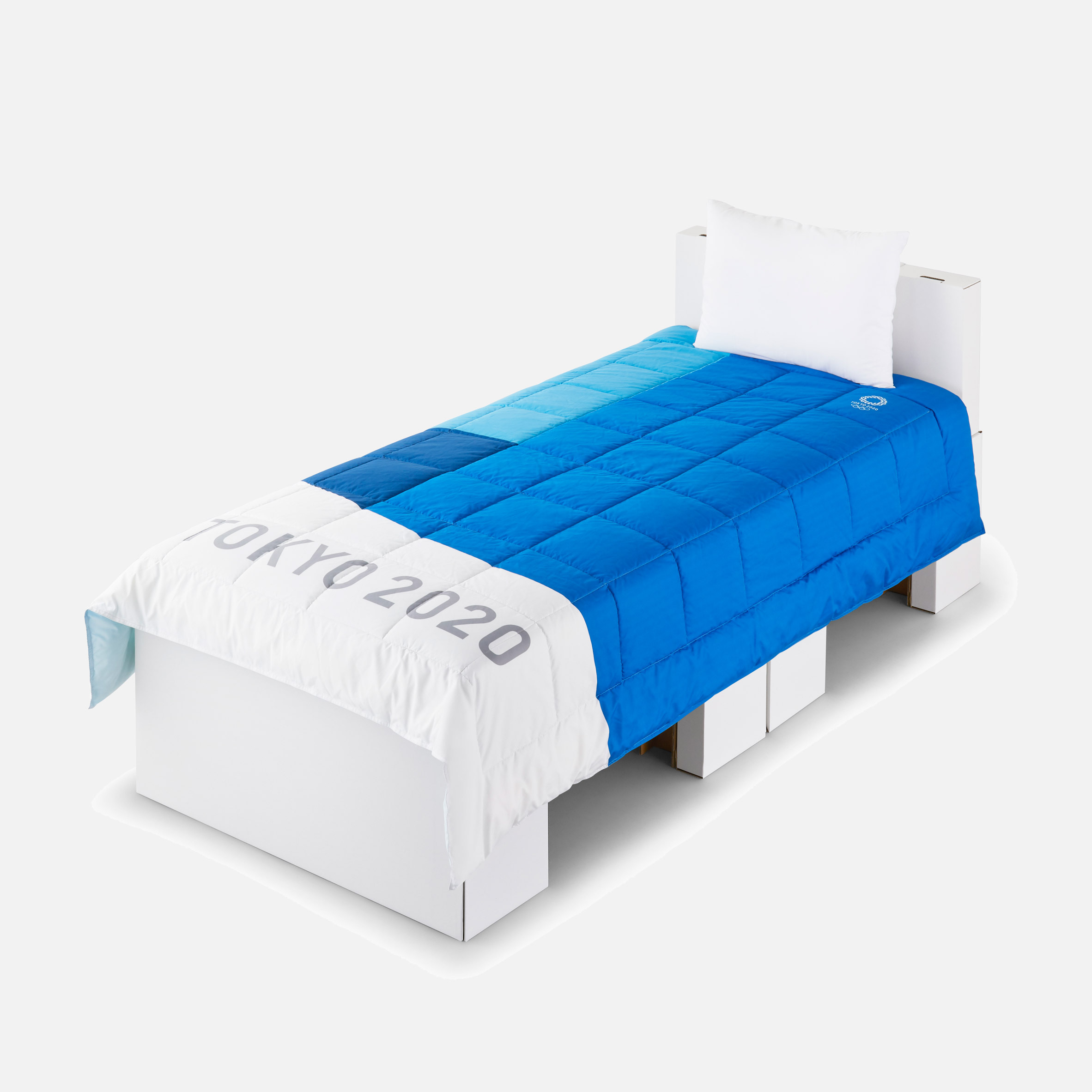 A blue and white Tokyo 2020 Olympic bed and mattress