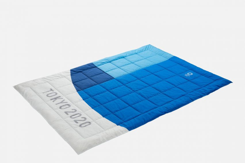 A blue and white Tokyo 2020 Olympic mattress