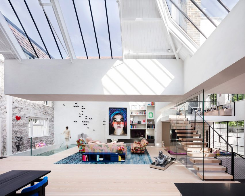White attic with skylights