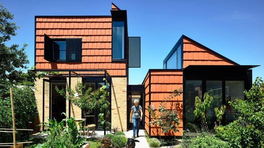 The home has a geometric design