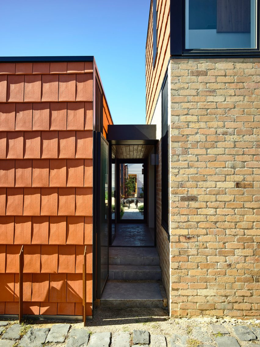 Brick meets terracotta at the home