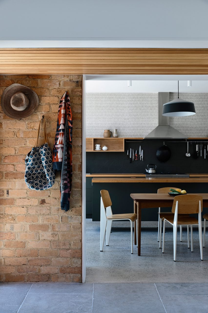 A kitchen has an open plan design