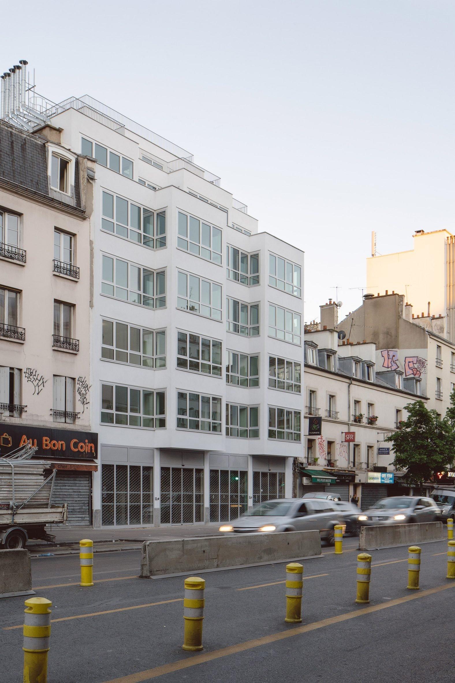 A white social housing block in Paris