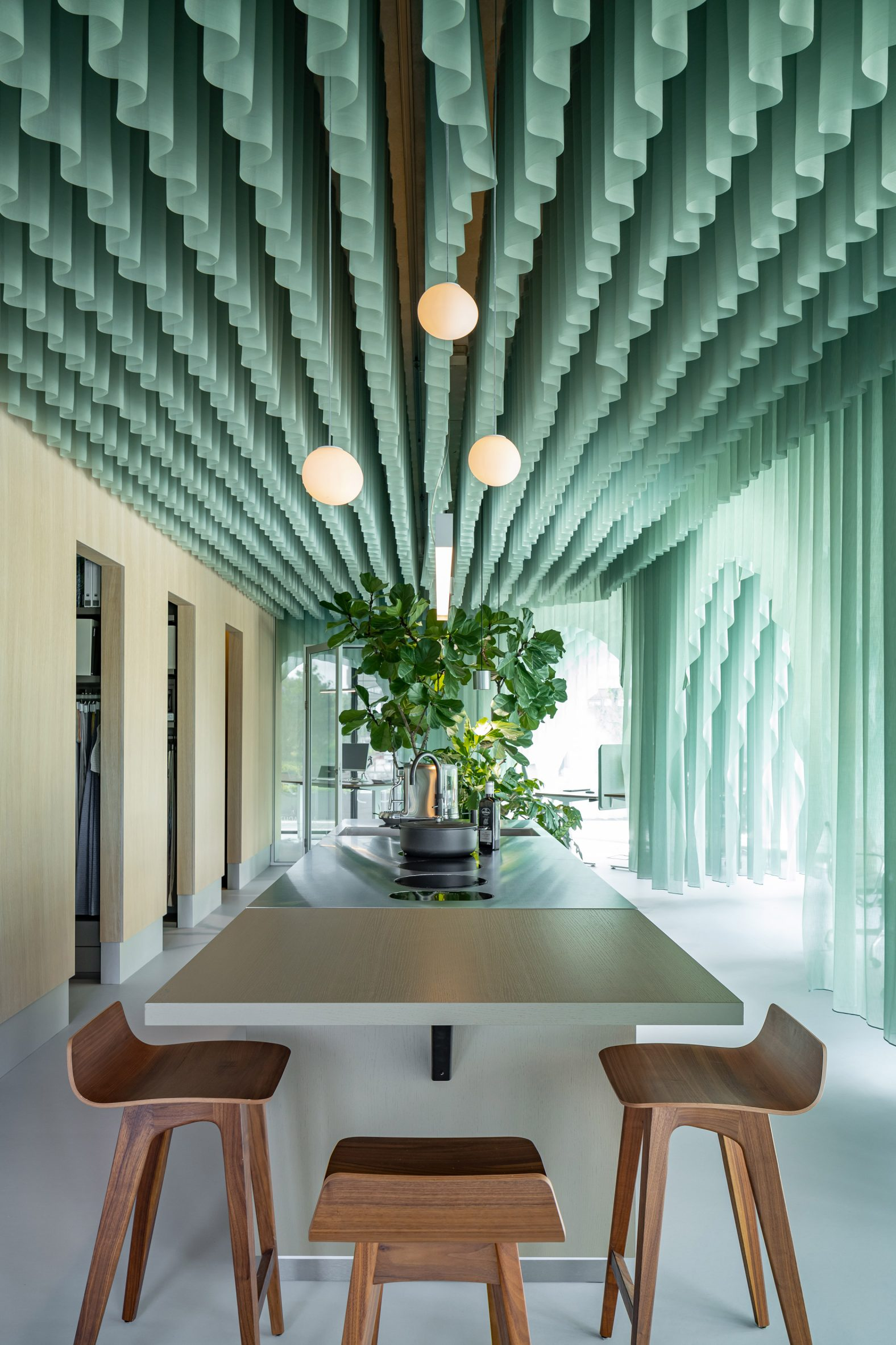 The kitchen at siersema office has an open plan design