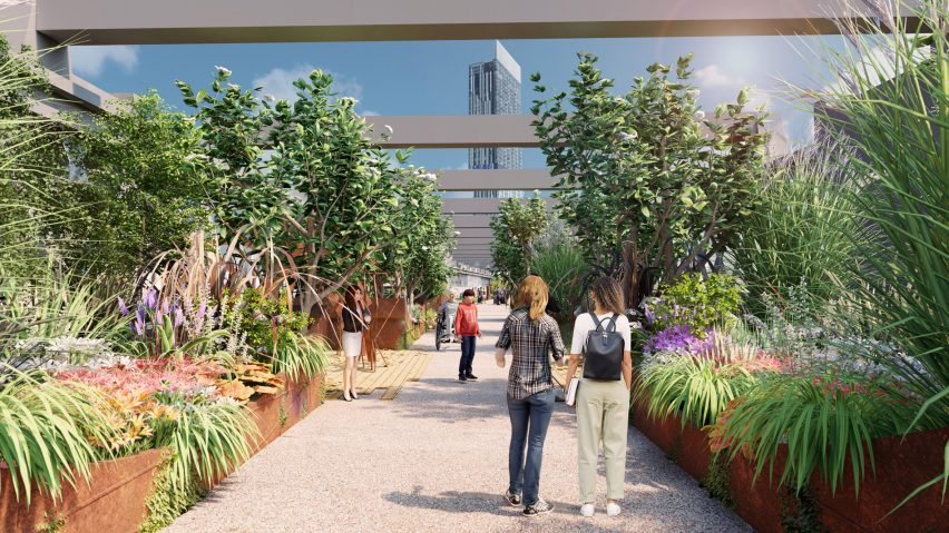 Steel planters will be placed across the viaduct