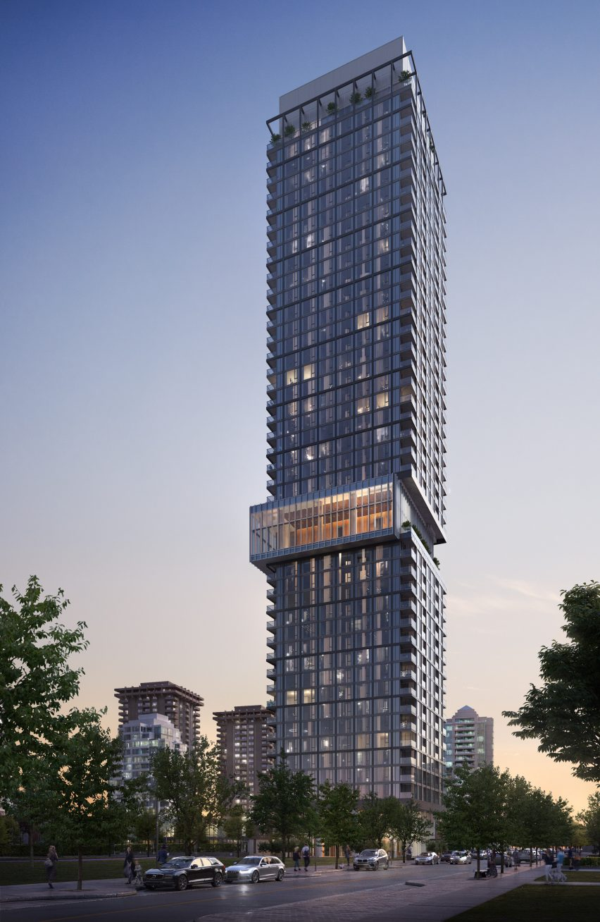 Exterior render of a high rise tower designed by Gensler for Canada