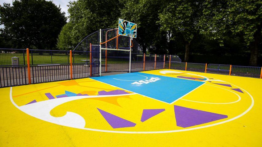 A multicoloured basketball court