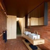 brick covers the bathroom