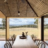 a dining table looks to the fields