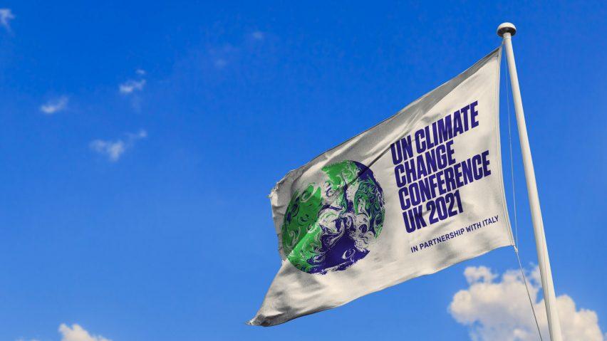 COP 26 logo on flag