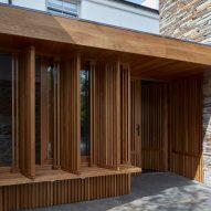 A wooden entrance pavilion