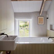 A white-walled bathroom