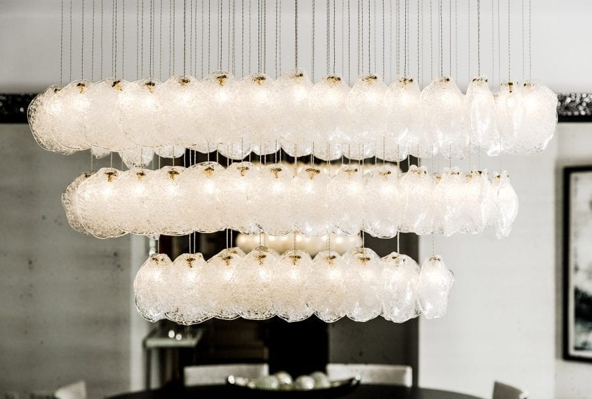 Three rows of hanging Crystal pendant lights