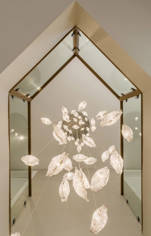 Hanging pendant lights seen from below