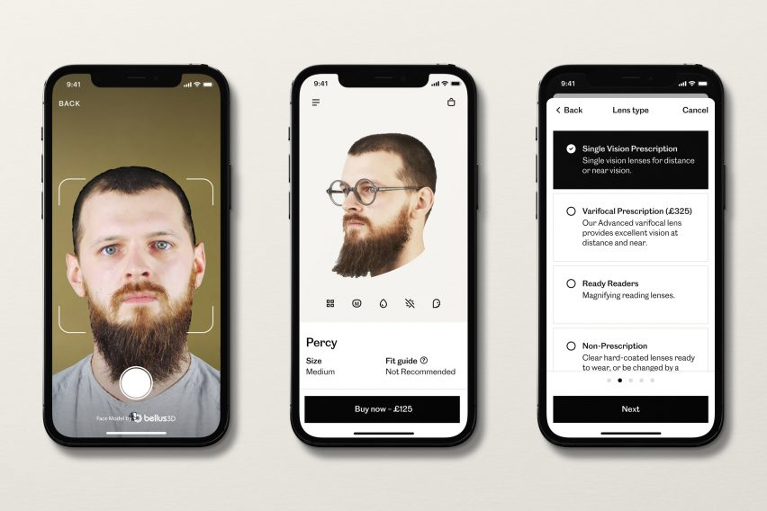 Cubitts app, image shows scan in progress, completed scan and options screen