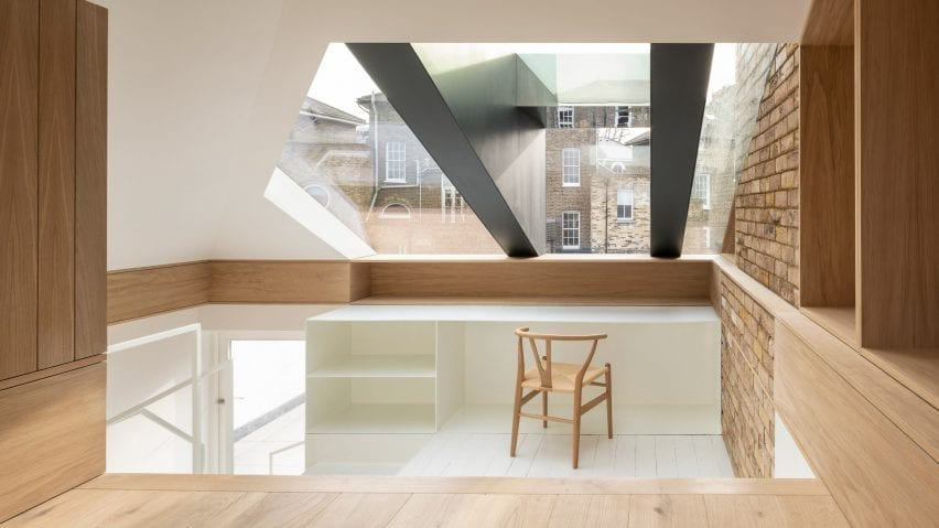 A home office in a loft