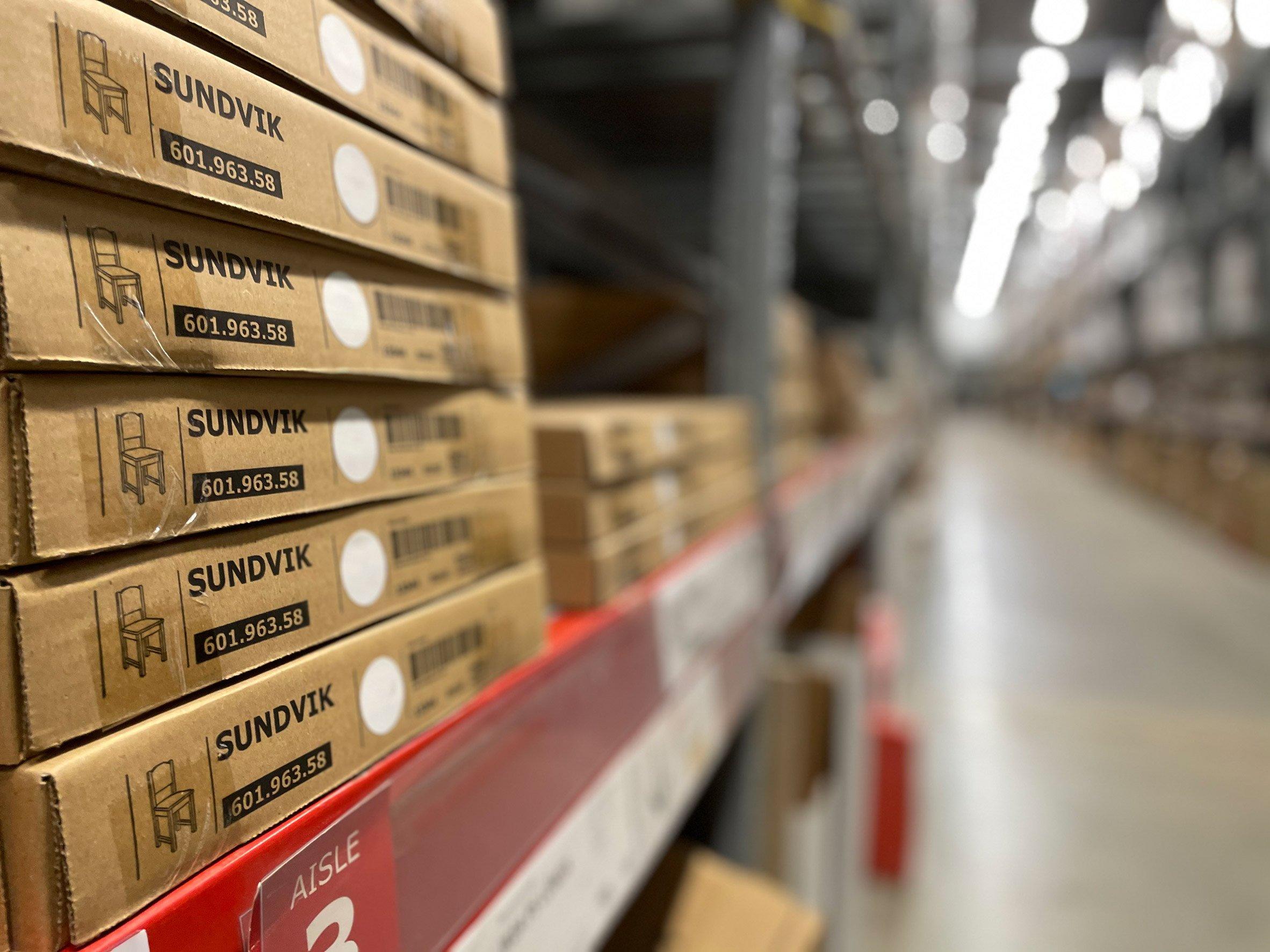 Sundvik IKEA furniture in warehouse boxes