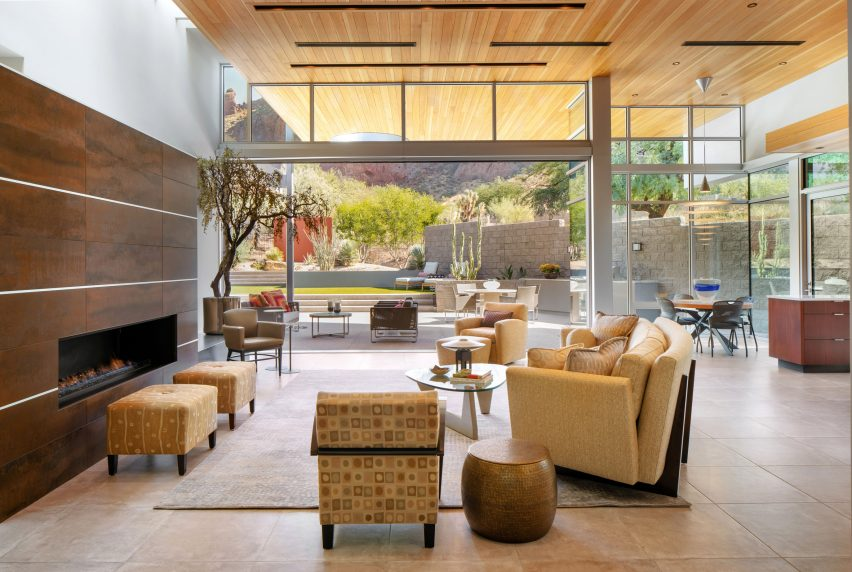 An open plan living room in Echo Canyon Residence by Kendle Design Collaborative