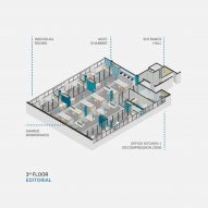 Isometric view of the editorial floor