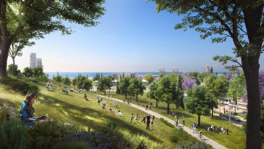 A visual of the park in Foster + Partners Ellinikon masterplan