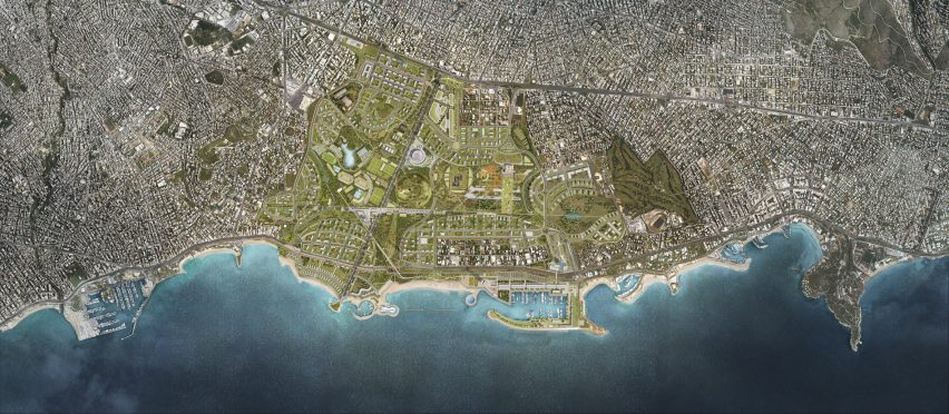 An aerial visual of the Ellinikon masterplan